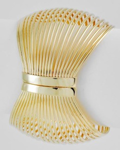 "Gold Tone Fold-over Bracelet, $16 • DIAMETER : 2 5/8"" • WIDTH : 2 1/4"""