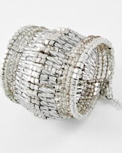 "Silver Two-tone Metal & Clear Acrylic Bead Cuff Bracelet, $18 •   SIZE FREE : CUFF •   WIDTH : 2 3/4"""