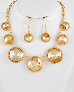 "Gold Tone Glass Graduating Necklace & Fish Hook Earring Set,  $35 • LENGTH : 19"" + EXT • EARRING : 1 3/4"" L • DROP : 1 1/2"" L"