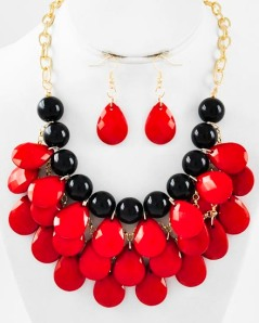 "Gold Tone Red & Black Acrylic Charm Necklace & Fish Hook Earring Set, $25 •   LENGTH : 18 1/2"" +EXT •   EARRING : 1 7/8"" L •   DROP : 2 1/2"" L"