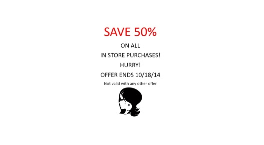 50% off sale ends oct 18 2014