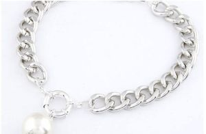 silver chain link necklacer with pearl 25