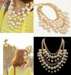 gold tone double strand cream pearl necklace