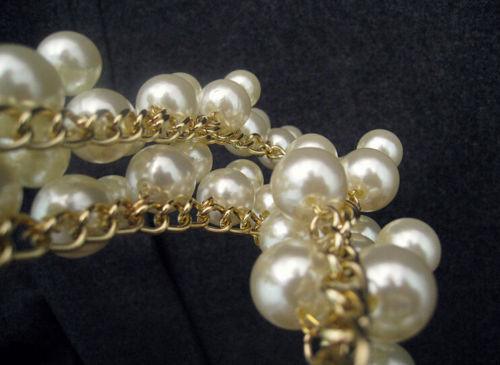 gold tone double strand cream pearl necklace1