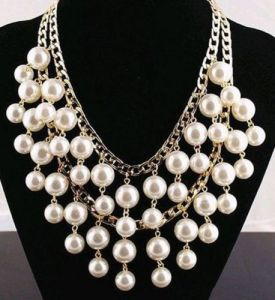 gold tone double strand cream pearl necklace2