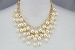 gold tone double strand cream pearl necklace4