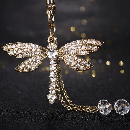 crystal dragonfly keychain