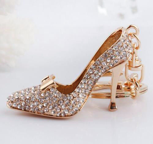crystal shoe keychain
