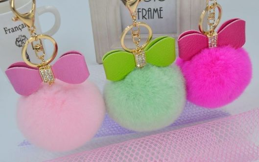 puff ball keychains