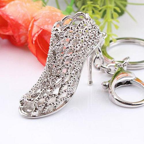 silver bootie keychain